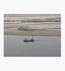 Dragging a Boat at Yamuna Photographic Print