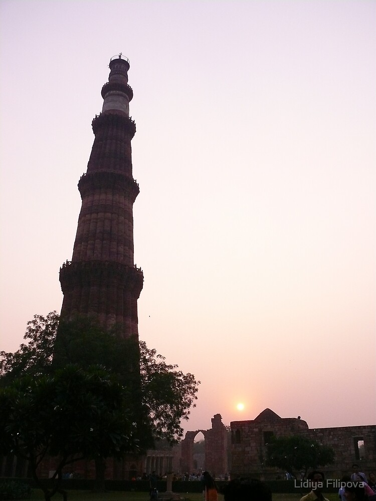 Qutub Minar at Sunset by Lidiya