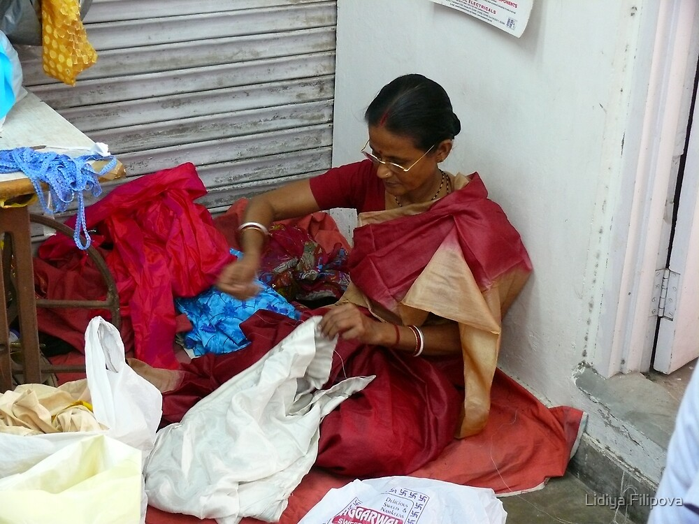 Indian Woman in a Workshop by Lidiya