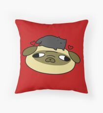 Pug Face and Black Cat Love Throw Pillow