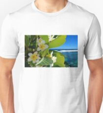 Plumeria with green Leaves and Ocean Unisex T-Shirt
