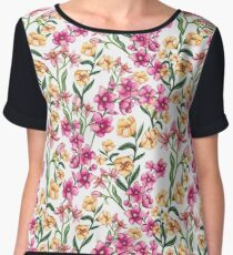 Bright Yellow and Pink Flowers Chiffon Top