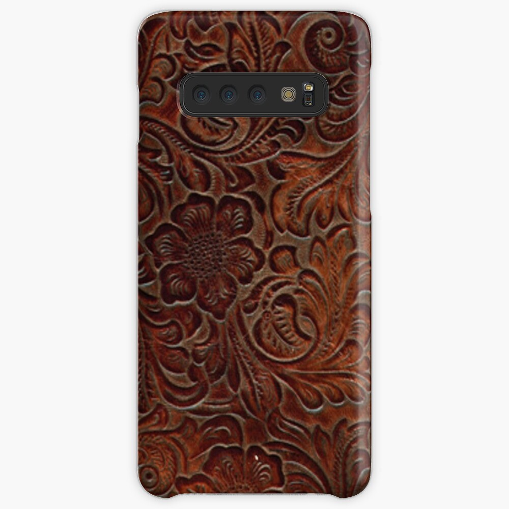 Poliertes Rich Brown Tooled Leder Hülle & Klebefolie für Samsung Galaxy