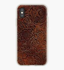 Poliertes Rich Brown Tooled Leder iPhone-Hülle & Cover