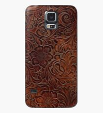 Burnished Rich Brown Tooled Leather Case/Skin for Samsung Galaxy
