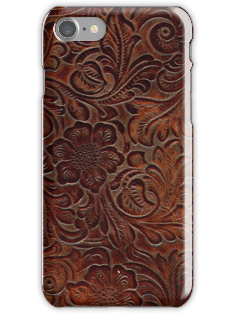 Burnished Rich Brown Tooled Leather iPhone Covers