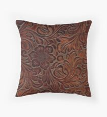 Burnished Rich Brown Tooled Leather Throw Pillow