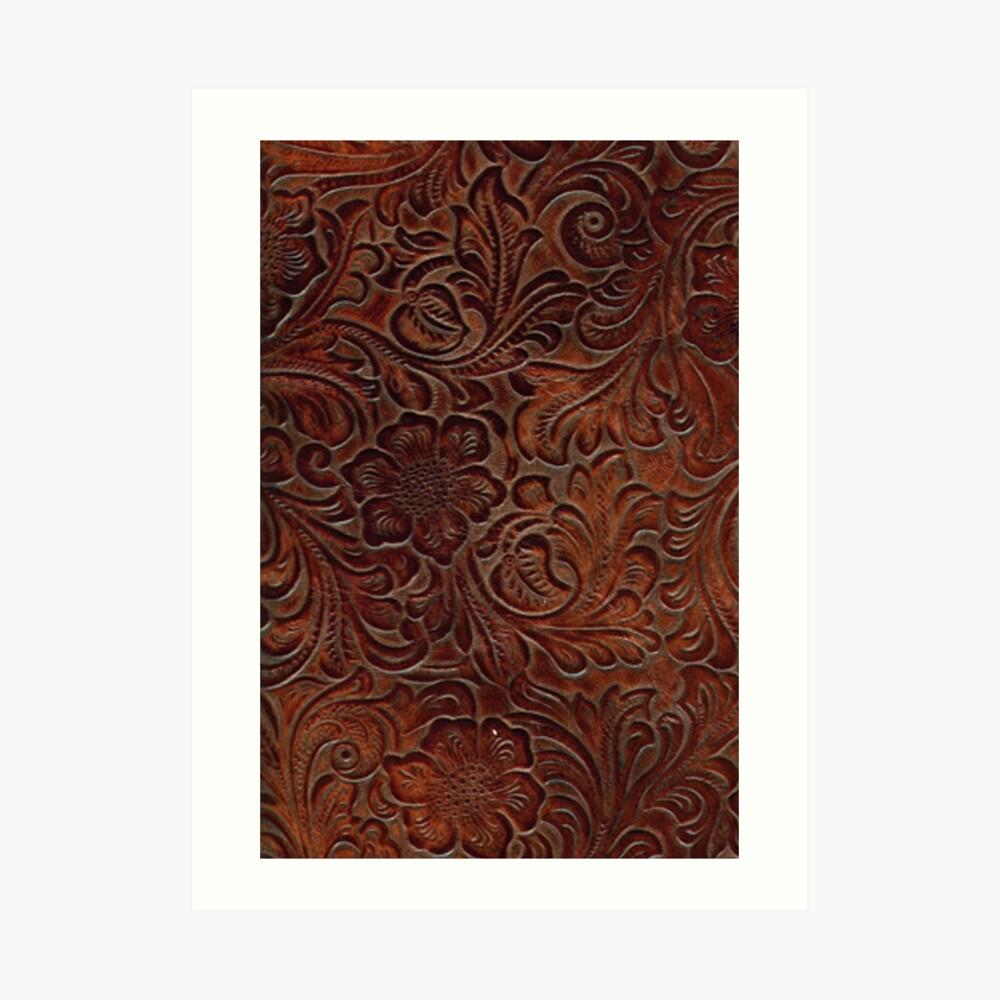 Poliertes Rich Brown Tooled Leder Kunstdruck