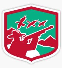 Hunter Aiming Shooting Ducks Shield Retro Sticker