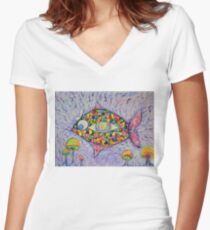 Rainbow Fish Third Eye Fin Women's Fitted V-Neck T-Shirt