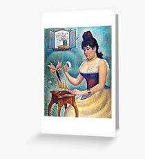 Young Woman Powdering Herself Greeting Card