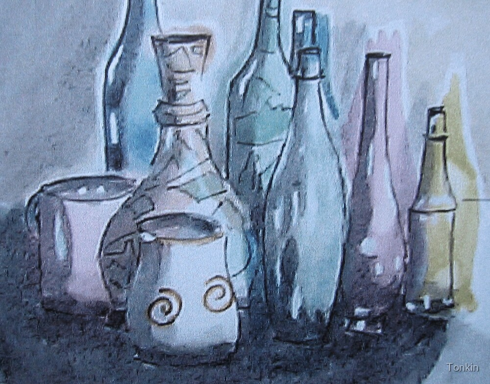 Still Life with Bottles by Tonkin