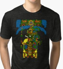 Great Mayan ruler of Tikal on his throne Tri-blend T-Shirt
