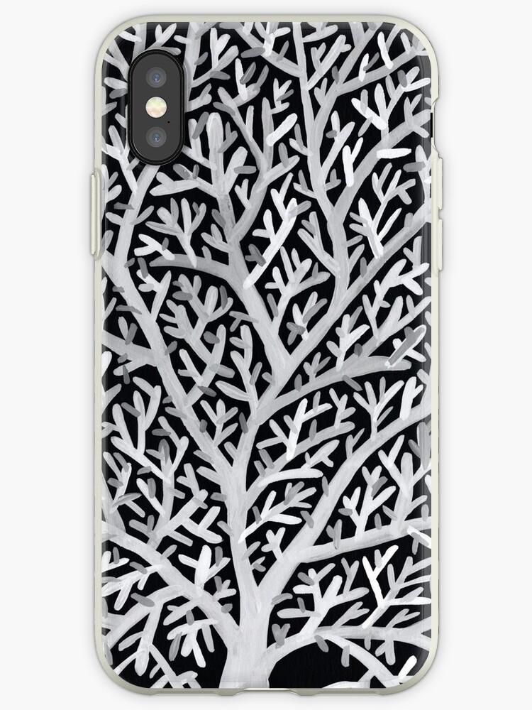Fan Coral - Weiße Tinte auf Schwarz von Cat Coquillette