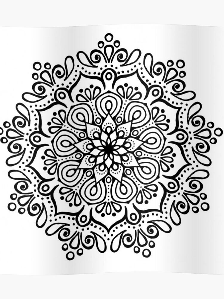 Mandala Blanco Y Negro Póster