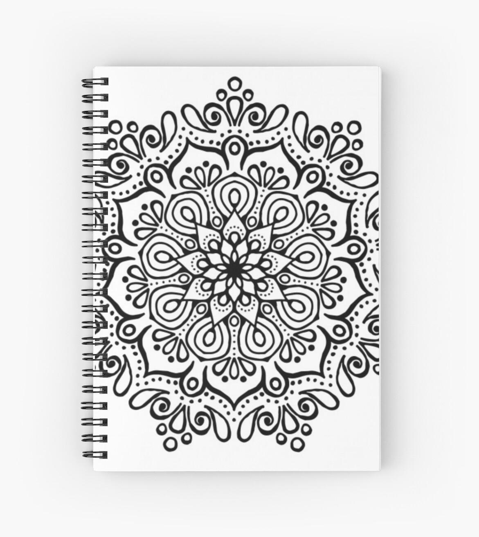 Cuadernos De Espiral Mandala Blanco Y Negro De Susquash Redbubble