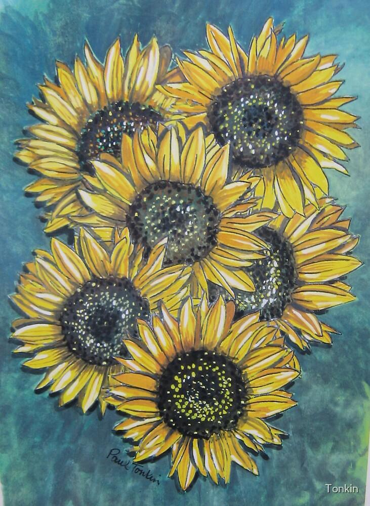 Six Sunflowers by Tonkin