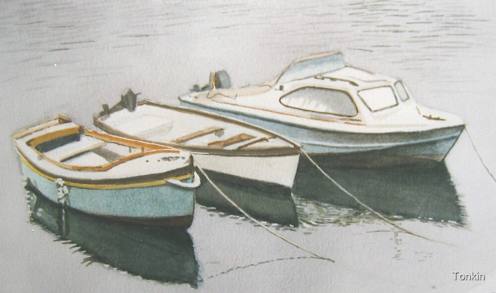 Boats in The Basin, Falmouth by Tonkin