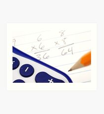 A close up image of math problems with a pencil Art Print