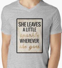 She Leaves a Little Sparkle Wherever She Goes V-Neck T-Shirt