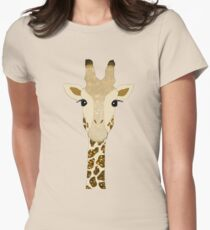 Golden Glitter Giraffe Womens Fitted T-Shirt