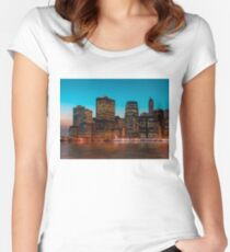 Manhattan at night Women's Fitted Scoop T-Shirt