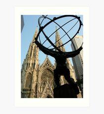 Atlas at St.Patrick's Cathedral, New York Art Print