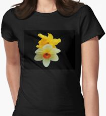 Daffodil and Narcissus on Black Background Womens Fitted T-Shirt