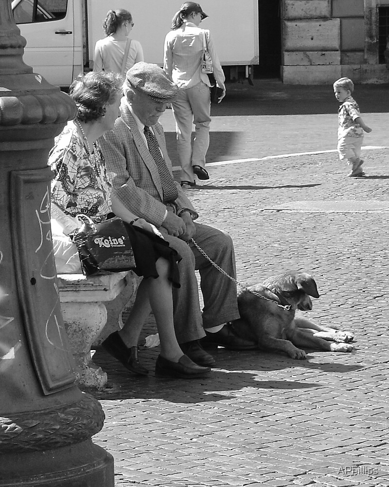 Elderly Couple with Dog by APhillips