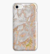 Rose gold marble dazzling swirl iPhone Case/Skin