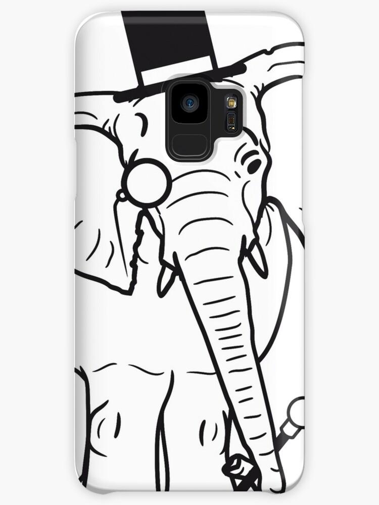 Sir Herr Gentlemen Zylinder Hut Monokel Brille Elefant Gemalt Cases