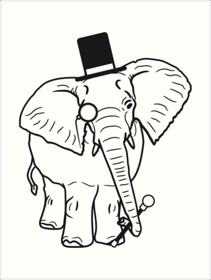 Sir Herr Gentlemen Zylinder Hut Monokel Brille Elefant Gemalt Art