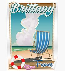 Brittany France beach travel poster Poster