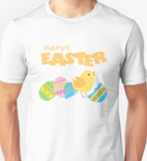 Happy Easter Colorful Eggs Cute Chick Hatching Unisex T-Shirt