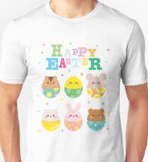 Happy Easter Cute Animal Emoji Colorful Eggs Novelty Unisex T-Shirt