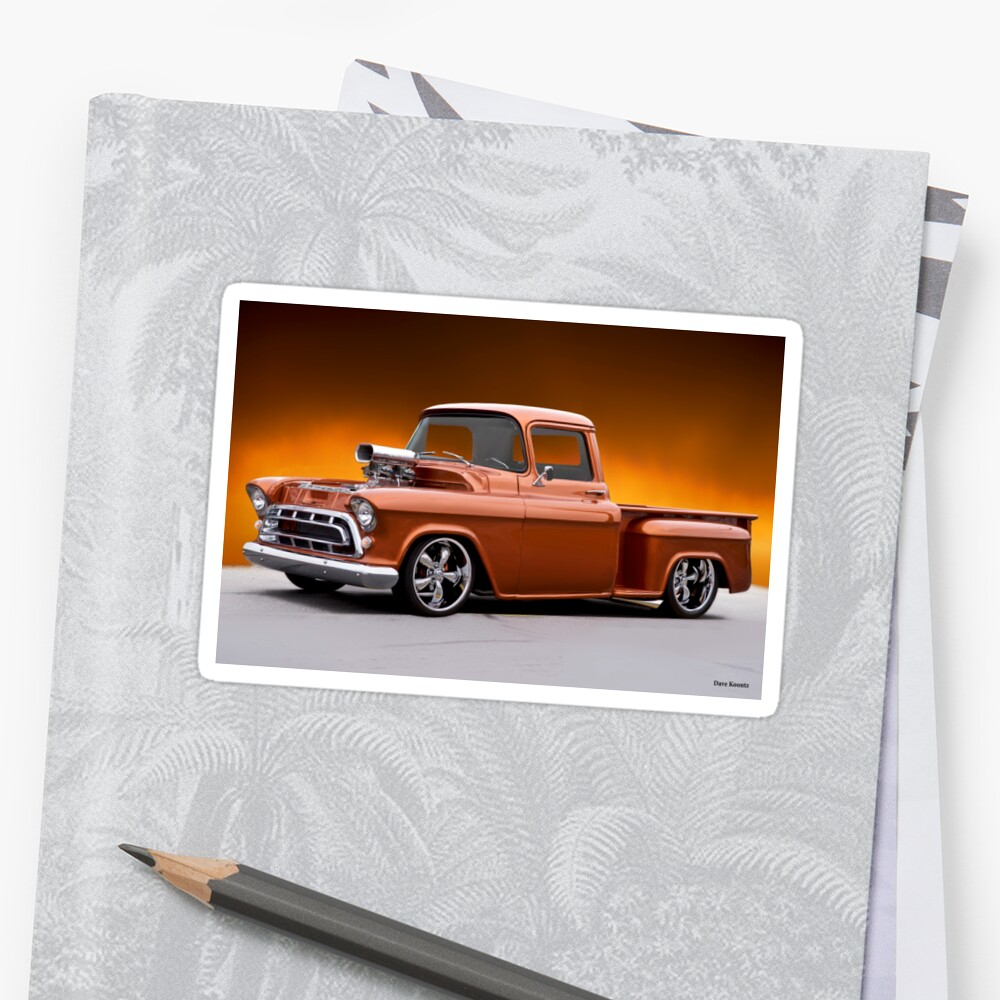 1957 Chevrolet Stepside Pickup L Stickers By Davekoontz Redbubble Chevy Truck