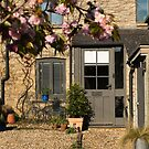Cotswold Cottage with blossom 01 by Flo Smith