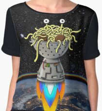 FSM Flying Spaghetti Monster Flying Above Earth Rainbow Ozone Layer Space Stars Chiffon Top
