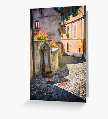Italian alley with fountain Greeting Card