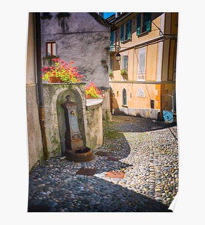 Italian alley with fountain Poster