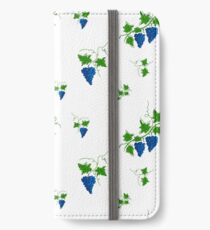 Pattern with wine branches and grape elements, vector illustration. iPhone Wallet/Case/Skin