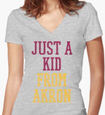 I'm Just a Kid from Akron Women's Fitted V-Neck T-Shirt