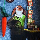 RABBIT carrots assemblage mixed media collage shadow box art by LindaAppleArt