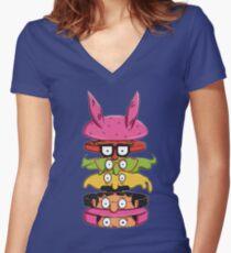 Burger Family Women's Fitted V-Neck T-Shirt