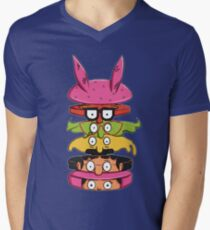 Burger Family Mens V-Neck T-Shirt