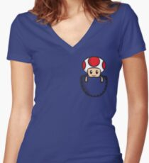 Pocket Toad Women's Fitted V-Neck T-Shirt