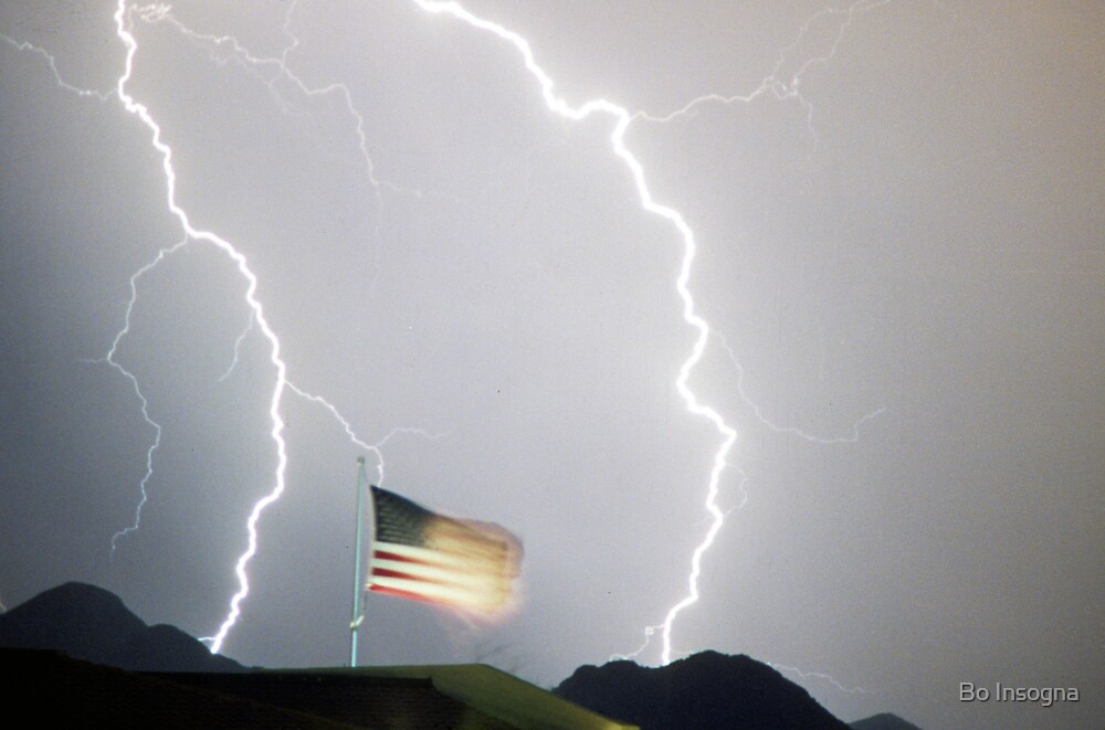 Lightning and the USA Flag by Bo Insogna