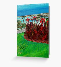 Red Canna in Contrasts with Turquoise  Sky Greeting Card