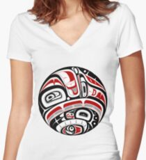 Nordwestliche Stammeskunst Shirt mit V-Ausschnitt