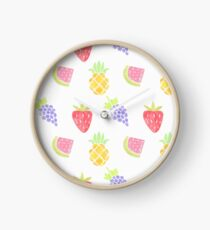 Watercolor Fruit Pattern Clock